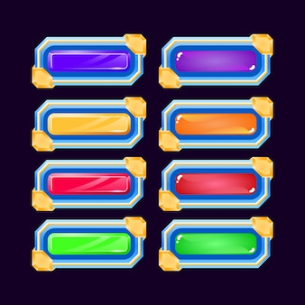 Set of fantasy game ui colorful jelly and diamond button with glossy border for gui asset elements