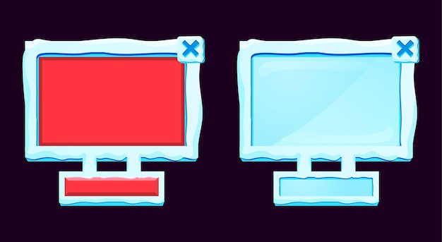 Set of fantasy gui snow ice board pop up icon interface