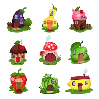 Set of fantasy houses in form of eggplant, pear, cupcake, mushroom, apple, strawberry, watermelon and lemon. colorful flat   illustration