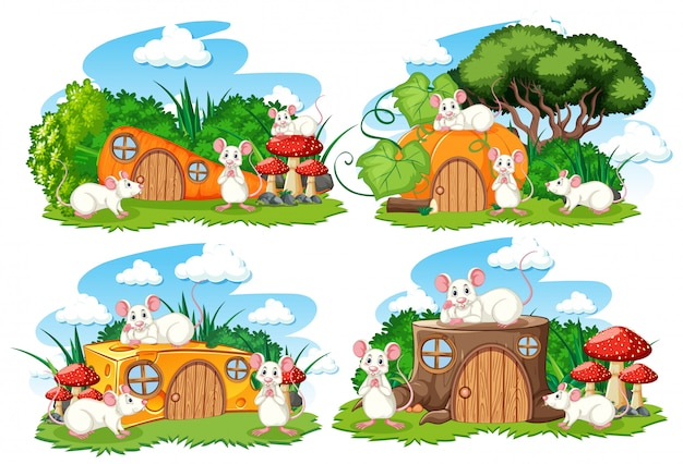 Set of fantasy houses in the garden with cute animals isolated on white background