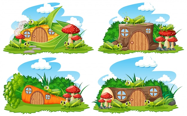 Set of fantasy houses in the garden with cute animals  on white background