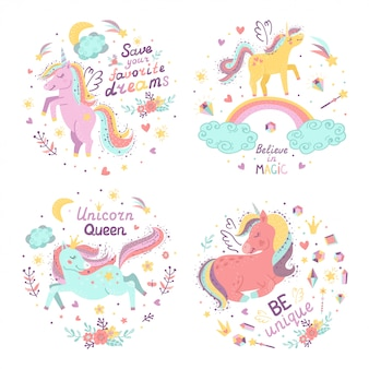 Set of fantasy illustrations with cute unicorns.
