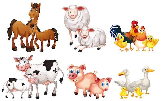 Set of farm animal