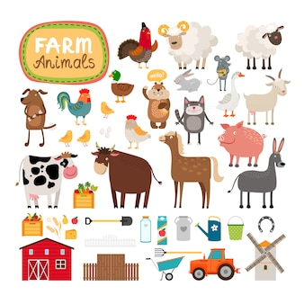 Set of farm animals and agricultural accessories.