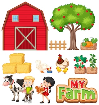 Set of farm animals and barn on white background