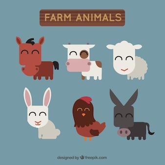 Set di animali da allevamento in design piatto
