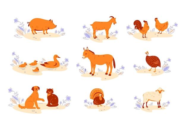 Set of farm animals in nature.