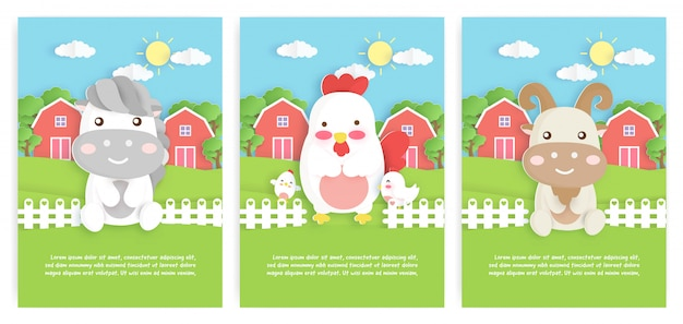 Set of farm animals template cards with cute chicken , horse and goat character