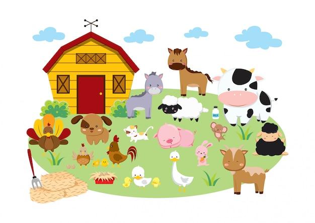 Set of farm animals