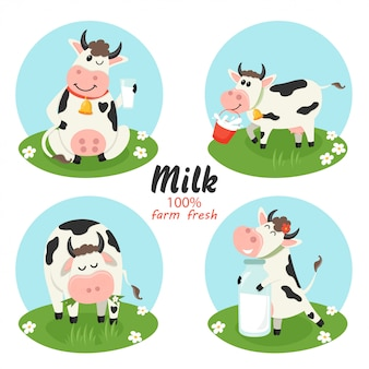 Set of farm cows with milk bottle