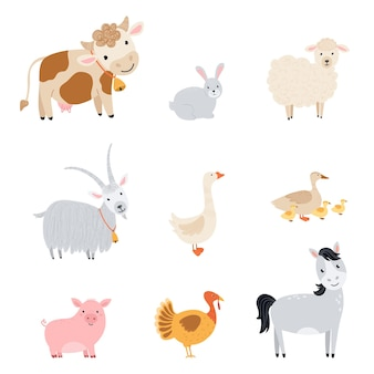 Set farm elements. collection cute farm animals in a flat style. illustration with pets cow, horse, pig, goose, rabbit, chicken, goat, sheep, turkey, duck isolated on white background. vector