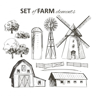 Set of farm elements