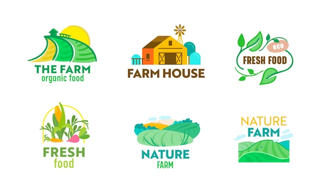 Set farm or farmer food logo. ecological natural organic production, advertising or promotional poster, fresh and tasty food products of premium quality. cartoon vector illustration, icon or label