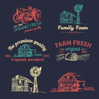 Set of farm logotypes