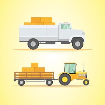 農機具をセットします。農業用産業機器および農機具。