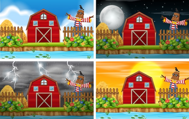 Set of farm scene backgrounds