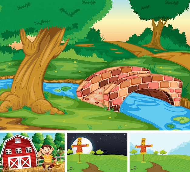 Set of farm scene cartoon style