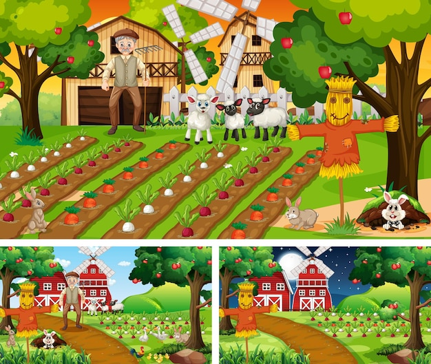 Set of farm scenes at different times