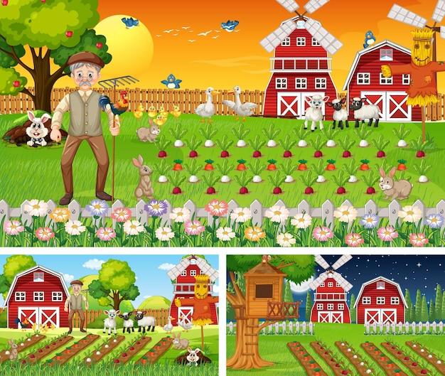 Set di scene di fattoria in momenti diversi