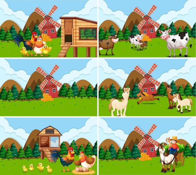 Set of farm scenes withs