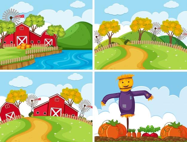 Set of farm scenes