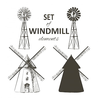 Set of farm windmill
