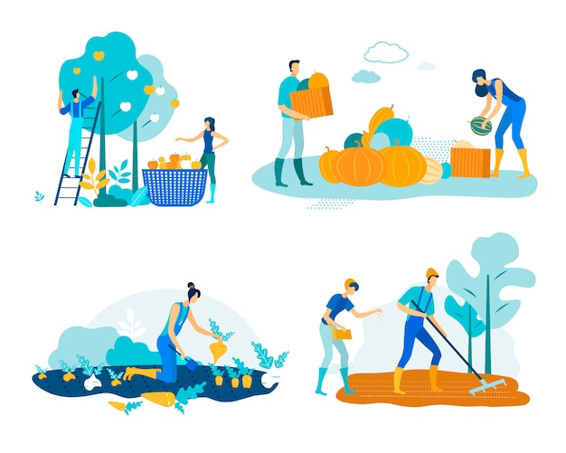 Set farm work harvesting vector illustration.
