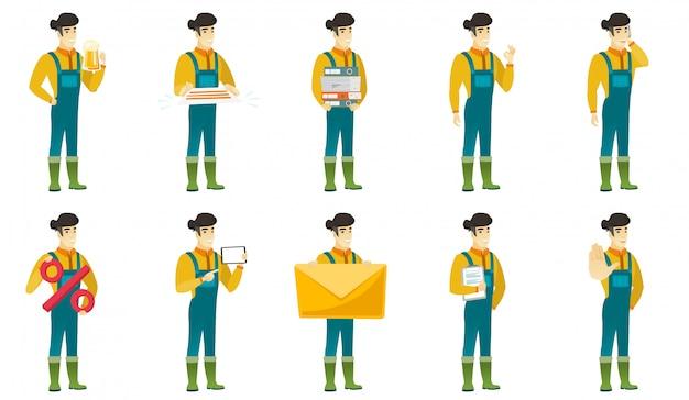 Set of  farmer characters