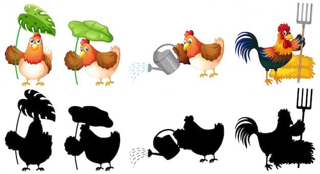 Set of farmer chicken