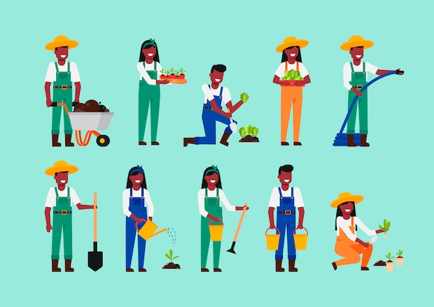 Set of farmers or agricultural workers, gardener