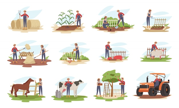 Set of farmers or agricultural workers planting crops, gathering harvest, collecting apples, feeding farm animals, carrying fruits, working on tractor.