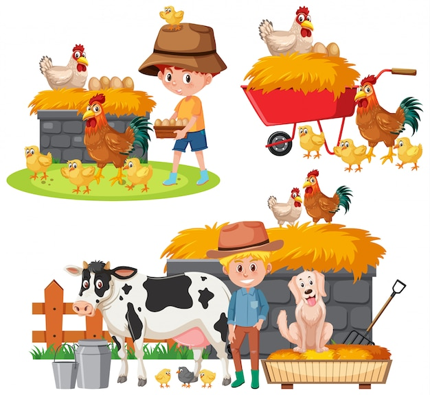 Set of farmers and farm animals on white
