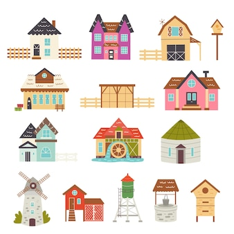 Set of farmhouse buildings. cottages, railway station, barn, mill, elevator, chicken coop, water tower, well, apiary. vector hand draw clipart