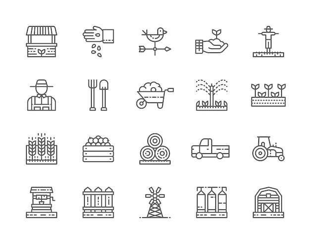 Set of farming and agriculture line icons.