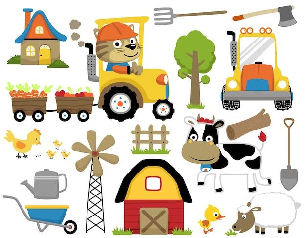 Set of farming cartoon with cute animals