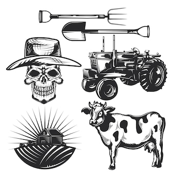 Set of farming elements for creating your own badges, logos, labels, posters etc.