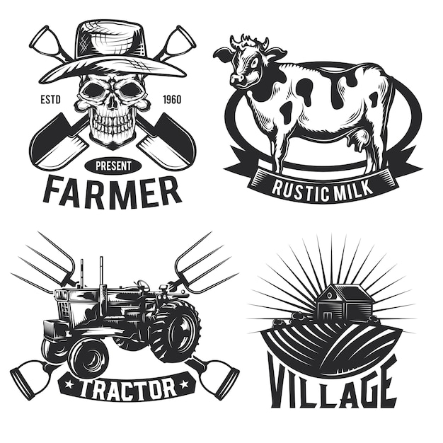 Set of farming emblems, labels, badges, logos.