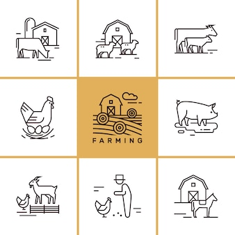 Set of farming and farm animals clip-art