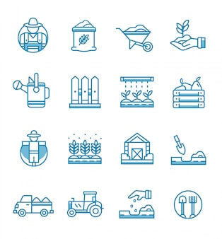 Set of farming and gardening icons with outline style.