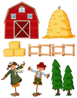 Set of farming items with barn and scarecrows