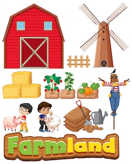 Set of farmland with buildings and kids