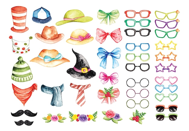 Set of fashion accessories in watercolor