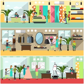 Set of fashion atelier posters, banners in flat style