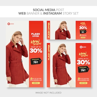 Set of fashion banners on different sizes: horizontal, square, vertical
