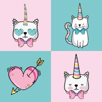 Set fashion cute patch decoration design vector illustration