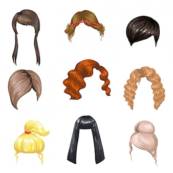 Set of fashion female hair styles.