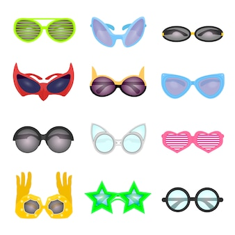 Set of fashion glasses.