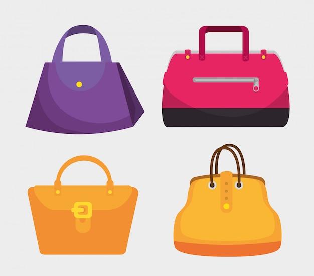 Set fashion handbags elegants style
