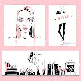 Set of fashion illustration. vector stylish girls.