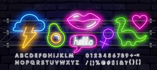 Set fashion neon sign. neon sign, bright signboard, light.